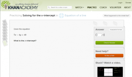 Khan Academy Practice - Find the X-Intercept of a Linear Relation