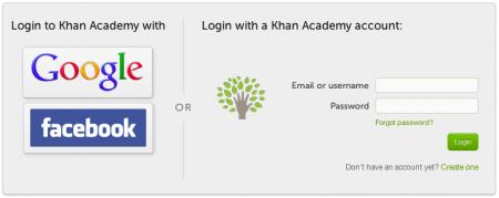 Khan Academy Login Screen - Login via Facebook, Google or Create Account