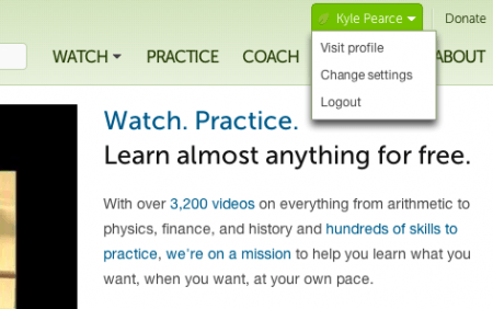 Khan Academy | Hover Over your Name and Select Visit Profile