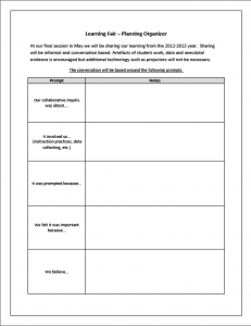 MYCI Learning Fair Planning Chart