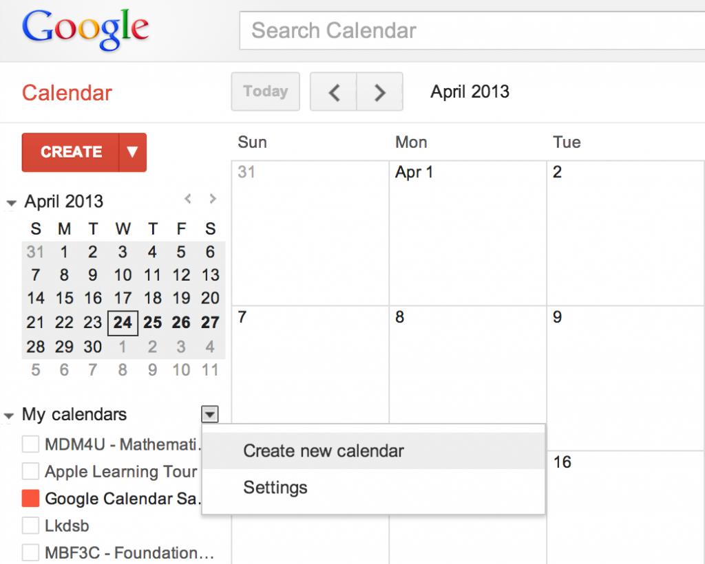How Teachers Can Use Google Calendar as a Class Website - Create a New Calendar