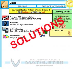 MPM1D 3.6.R Solving Equations Handout Solutions