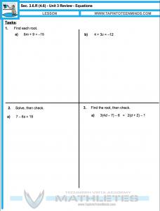 MPM1D 3.6.R Unit 3 Reivew - Solving Equations Handout Resources