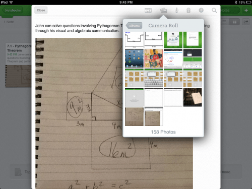 Using the Camera Roll in Evernote to Record Evidence