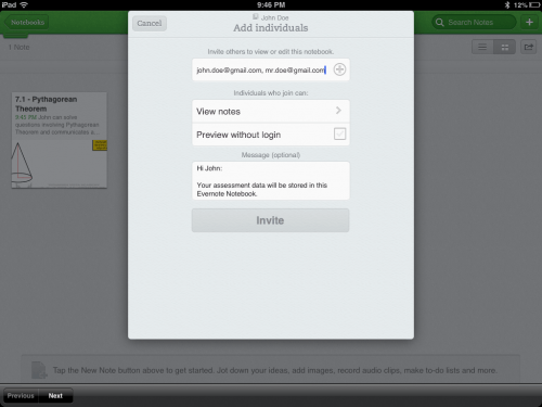 Invite Students and Parents to Access Evernote Assessment and Descriptive Feedback