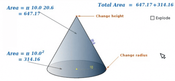 Open Math Reference Surface Area of a Cone Interactive Manipulative