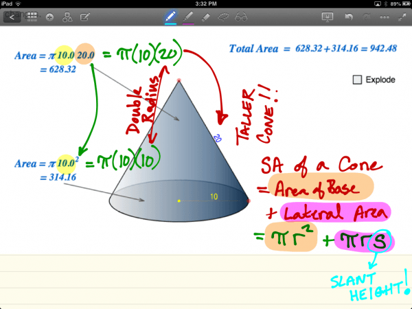 Formula to Calculate Surface Area of a Cone With Slant Height Greater Than Radius