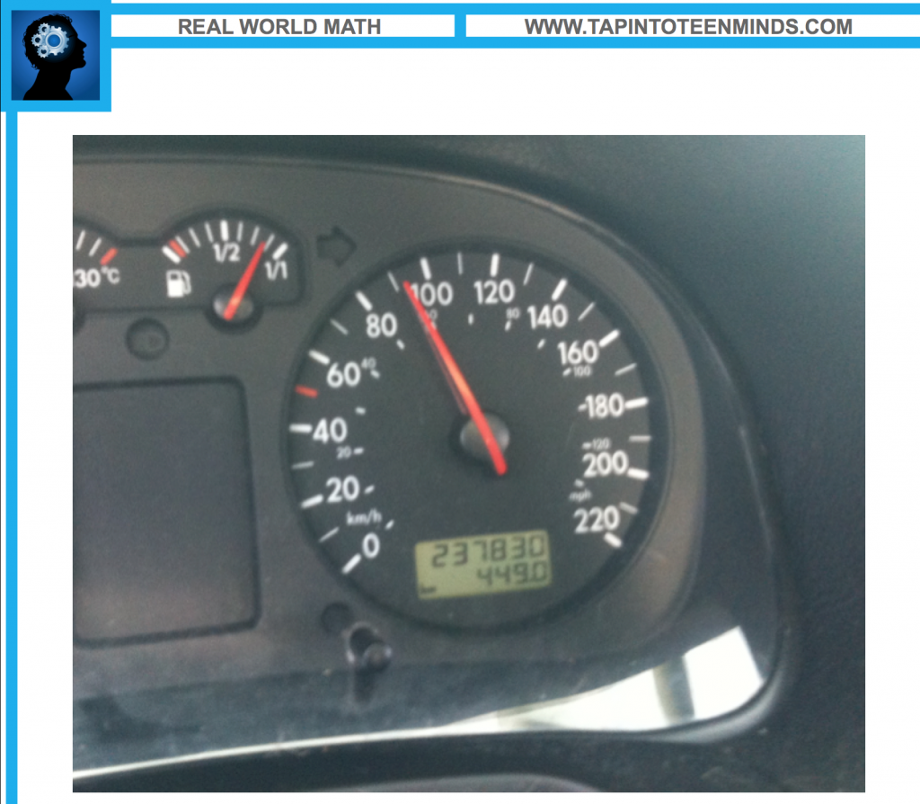 The Drive to Work - Real World Math Solution Speedometer