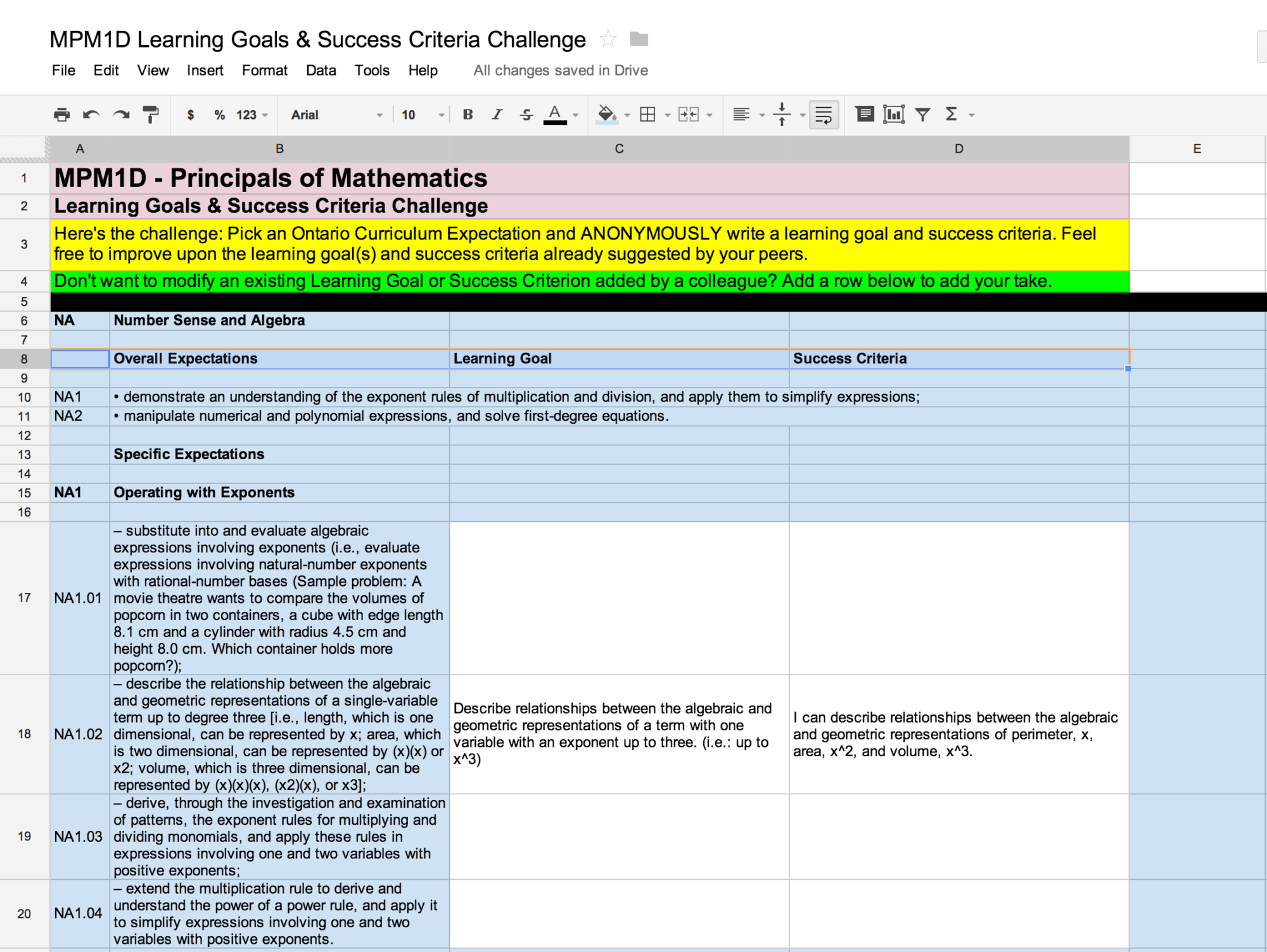 Creating Learning Goals & Success Criteria Collaboratively