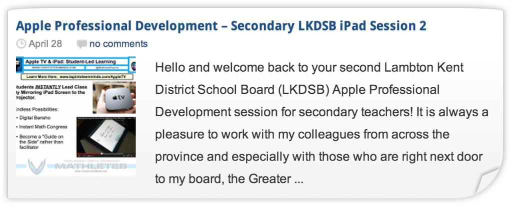 LKDSB Apple Professional Development iPad Workshop 2