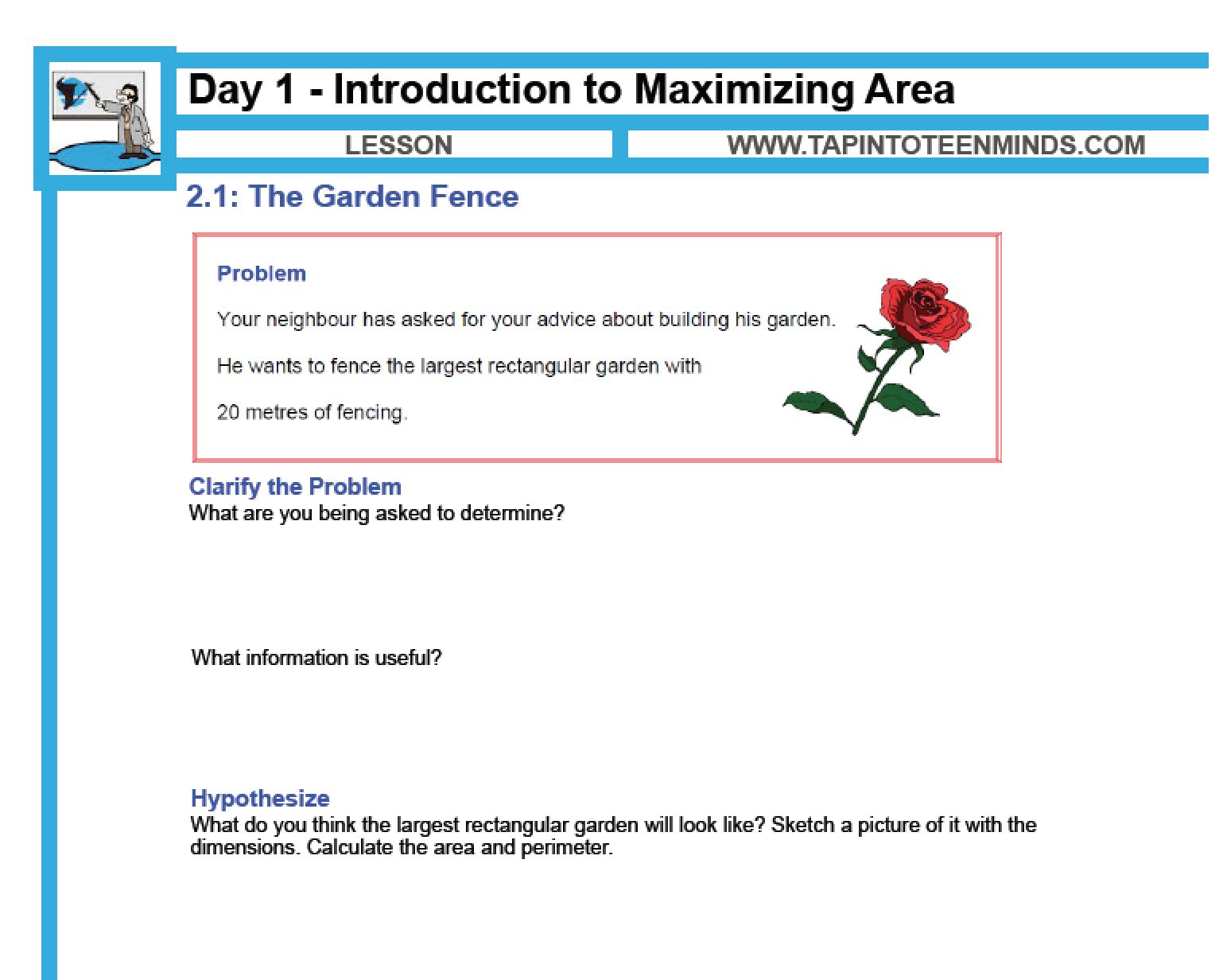 2.1 – Introduction to Maximizing Area