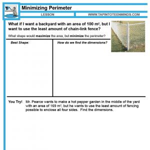 2.6 – More Minimizing Perimeter With a Fixed Area | Math Task Template