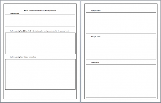 2014-15 Middle Years Collaborative Inquiry (MYCI) Planning Template