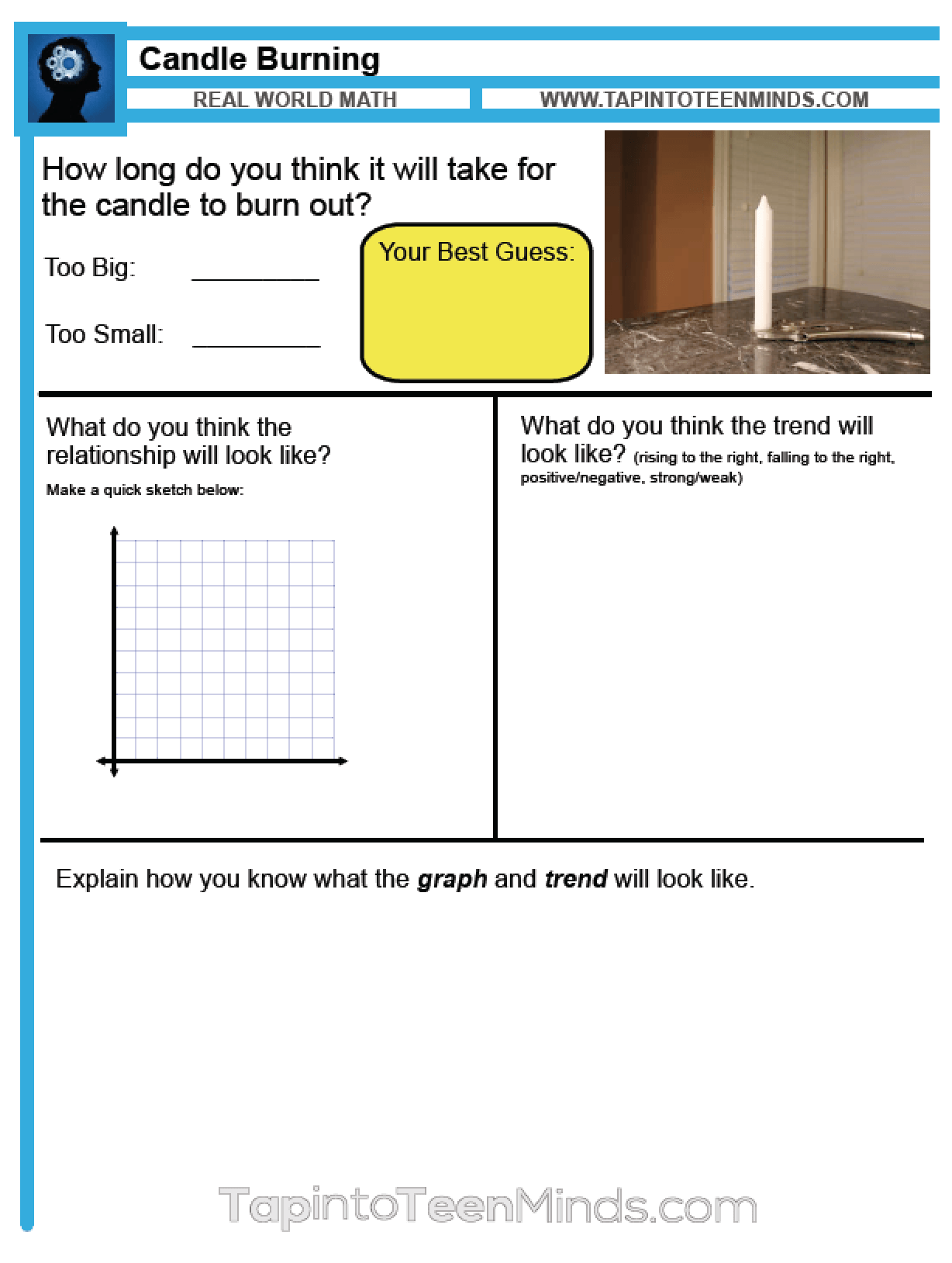 Candle Burning 3 Act Math Task Resource - Tap Into Teen Minds