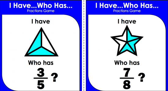 I have, who has - Fractions Game Card Set