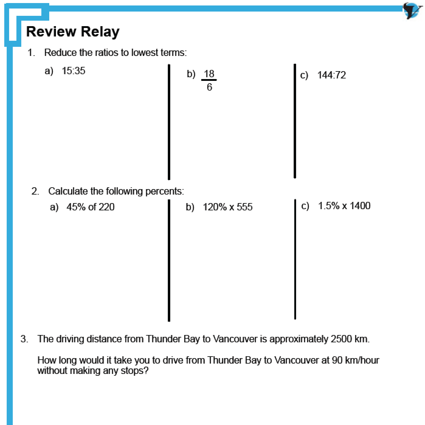 Ratios, Rates and Proportional Reasoning Review | MFM1P 9 Math