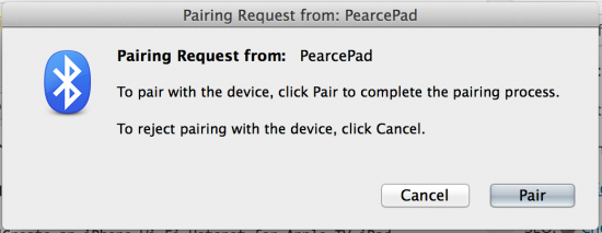 MacBook Receives Bluetooth Pairing Request From iPad