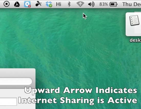 Upward Arrow Indicates Your MacBook Internet Sharing Hotspot Network is Active