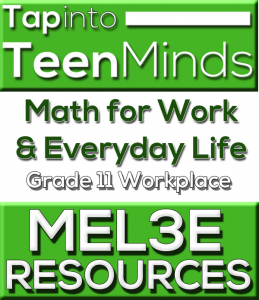 MEL3E Grade 11 Workplace Math Resources