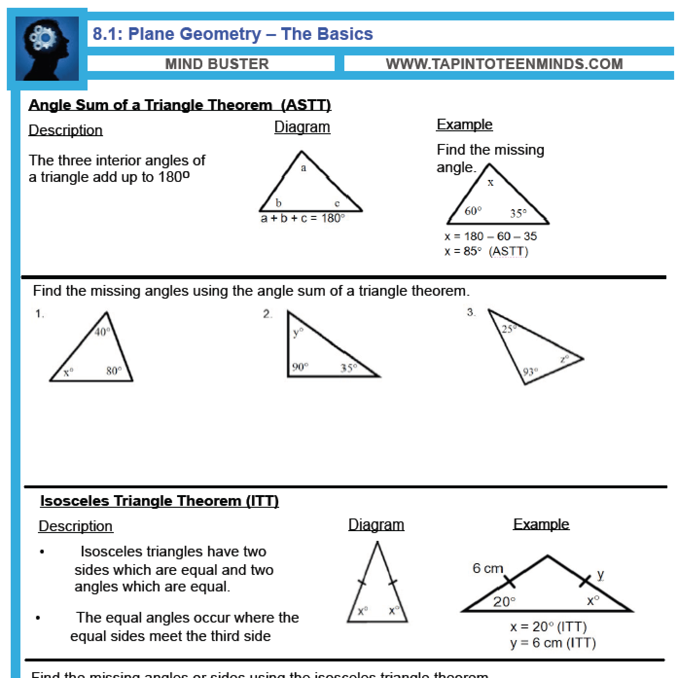 worksheet Angle Relationships Parallel Lines Worksheet 8 1 angle relationships in triangles and parallel lines gr 9 math