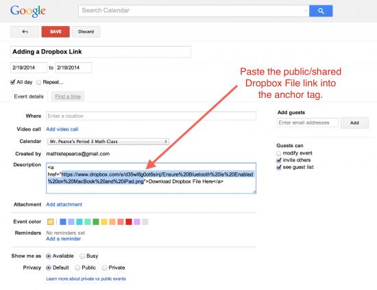 Paste Public or Shared Dropbox Link to Google Calendar