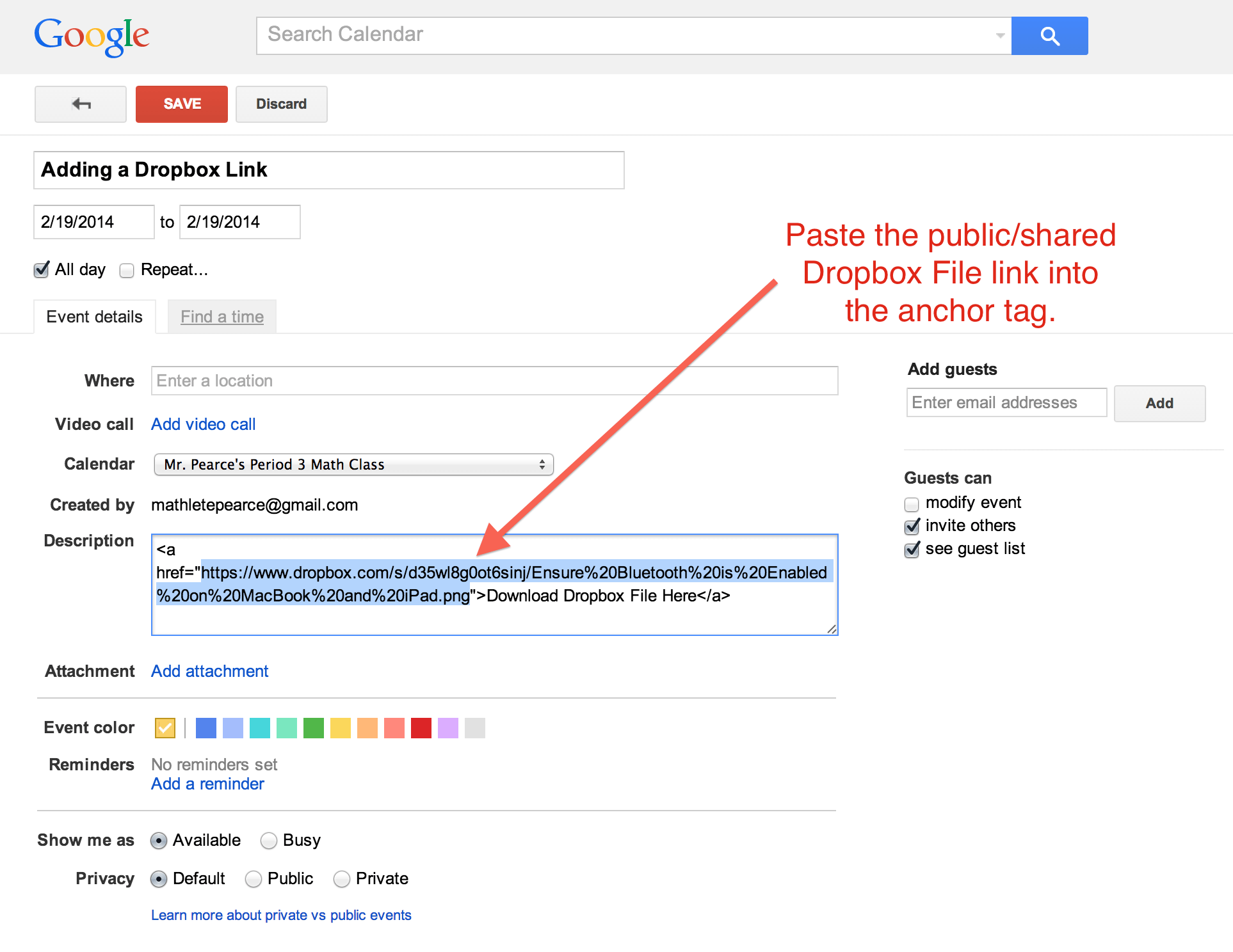 How to Link to Public/Shared Dropbox Files With Google Calendar