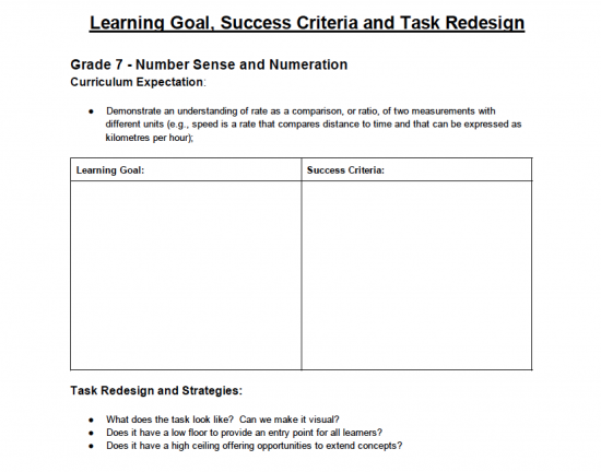 MYCI Learning Goal, Success Criteria and Task Redesign Activity Resources