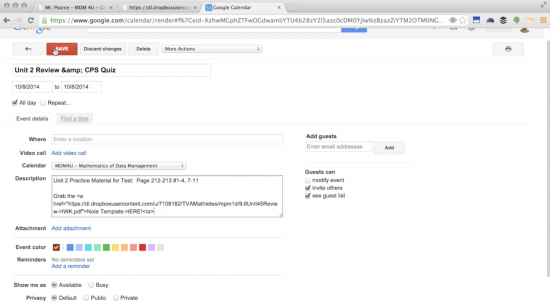 Google Teacher Academy Video - Google Calendar as Class Website