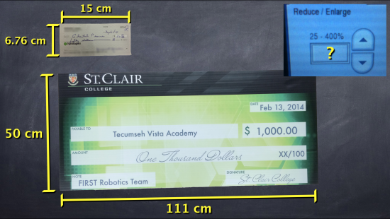 Big Cheques - Task 4, Act 2 - Dimensions of Original and Lottery-Sized Cheque