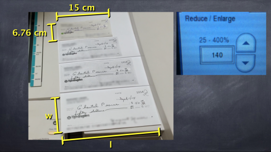 Big Cheques - Task 3, Act 2 - Dimensions of the Original and Big Cheque