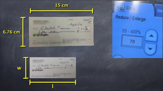 Big Cheques - Task 5, Act 2 - Dimensions of Original Cheque and Reduced Size Cheque