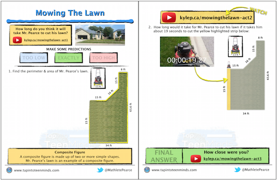 Mowing The Lawn 3 Act Math Task Template PDF File Resource