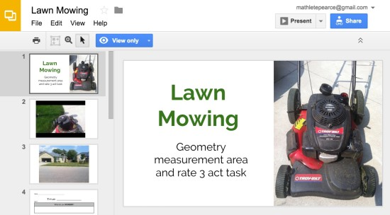 Mowing the Lawn 3 Act Math Google Slides Presentation
