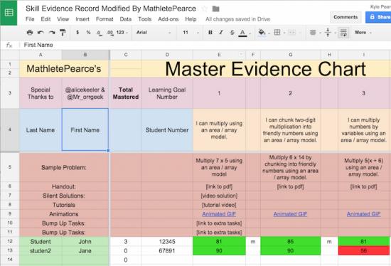 Mathlete Pearce's Master Student Skill Evidence Sheet small