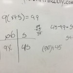 9 times x + 5 equals 99 - Number Sense Algebra and Distribution Student Exemplar 1