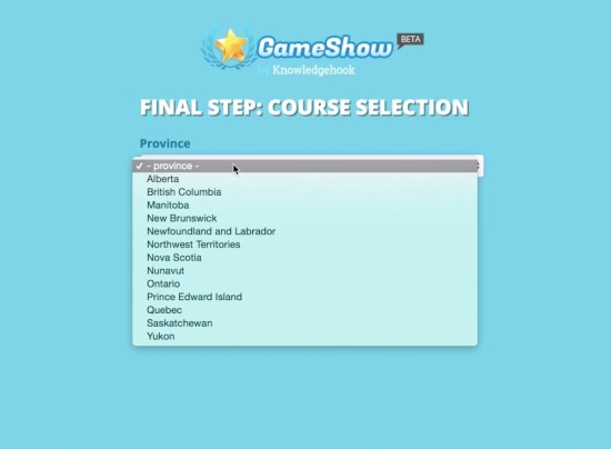 Knowledgehook Gameshow Province or Location Selection