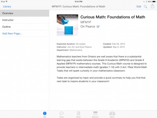 Curious Math iTunes U Course - 00 Course Information