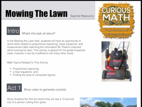 Curious Math iTunes U Course - 06 Mowing the Lawn Task Teacher Resource Guide