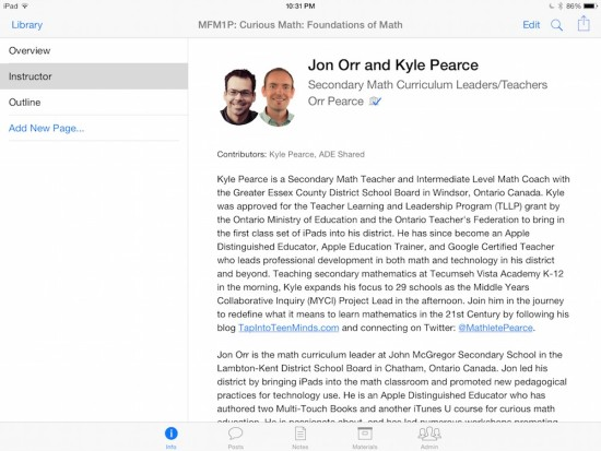 Curious Math iTunes U Course - Instructors Jon Orr and Kyle Pearce