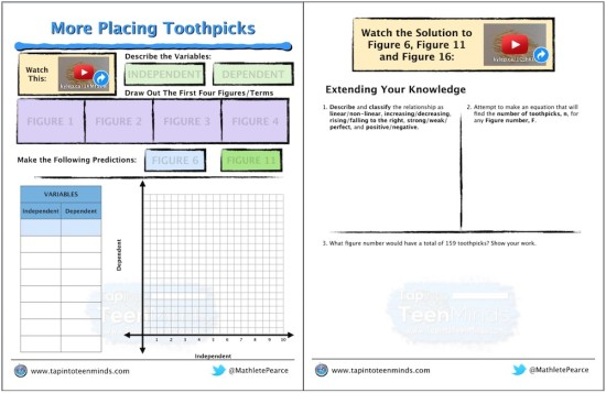 Placing Toothpicks Part 4 Math Task Template Screenshot