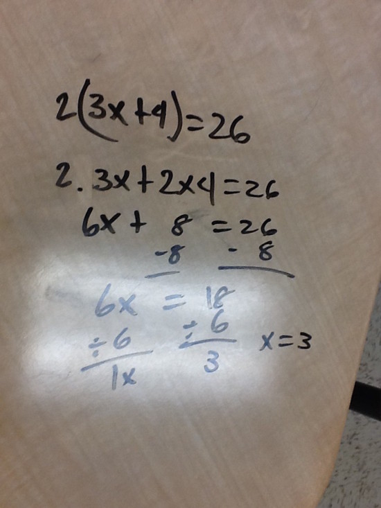 Student Exemplar - Solving Equations Warm-Up