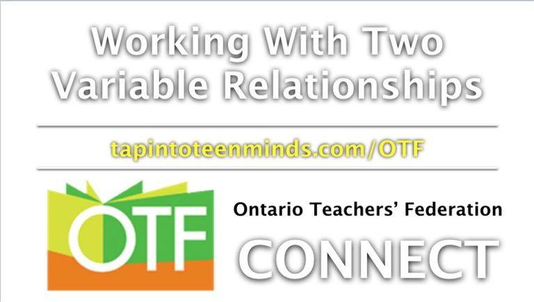 OTF Connect – Working With Two Variable Relationships