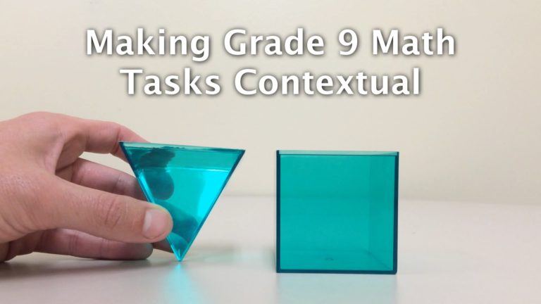 Making Grade 9 Math Tasks Contextual