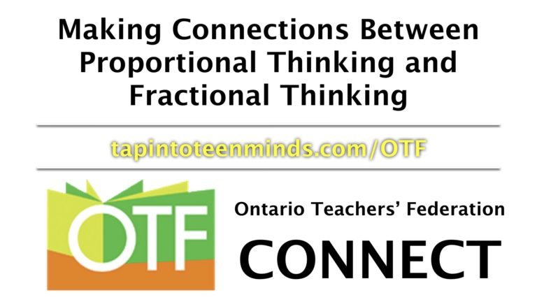 OTF Connect – Making Connections Between Proportional Thinking and Fractional Thinking