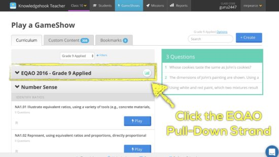 Knowledgehook EQAO Benchmark Tool - Click on the EQAO Strand Pull Down