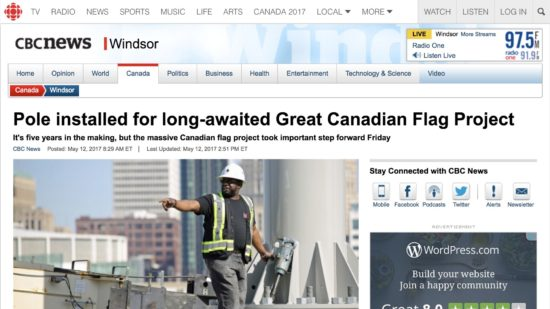 Flag Pole Installed for Great Canadian Flag Article Screenshot