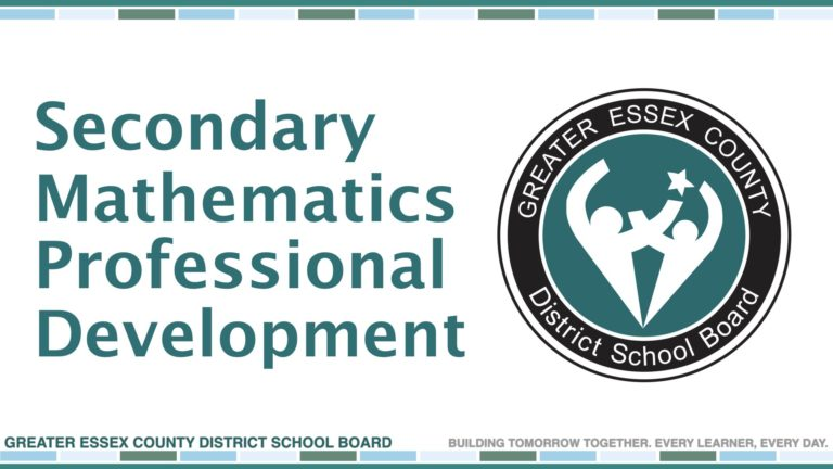 GECDSB Secondary Mathematics Professional Development