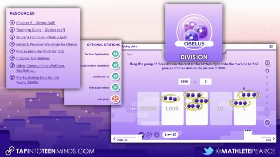 Global Math Week - Exploding Dots Island Summary - Island 5 Obelus - Division