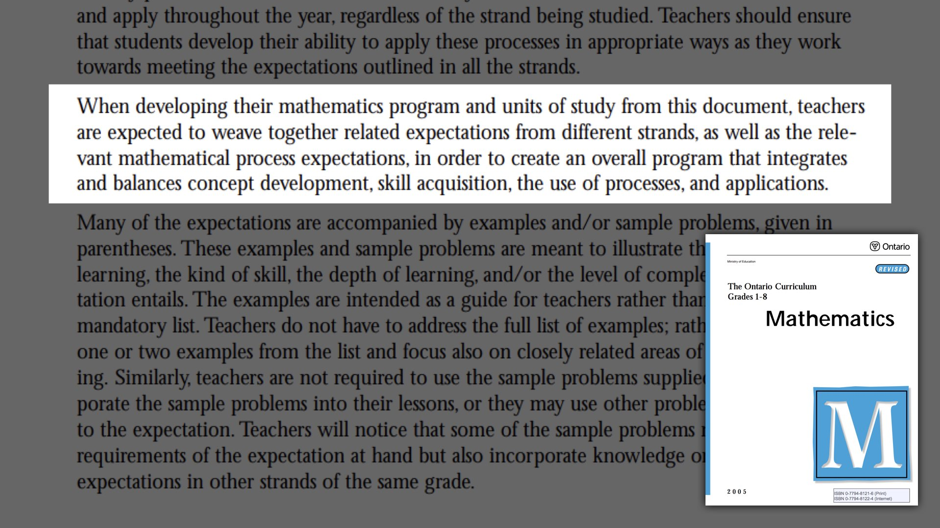 Spiralling Your Math Curriculum - Ontario Curriculum Quote About Spiralling Strands