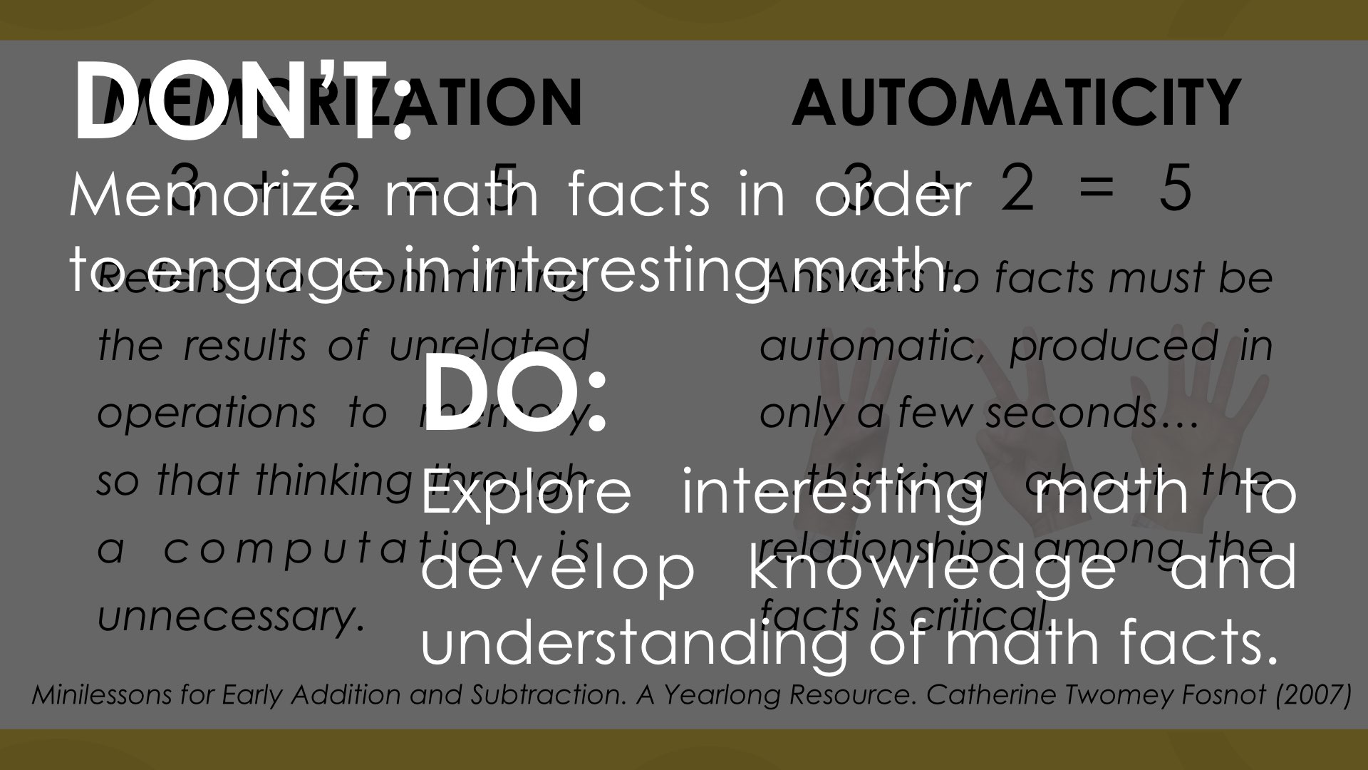 Memorization vs. Automaticity: Back to Basics or Beyond the ...